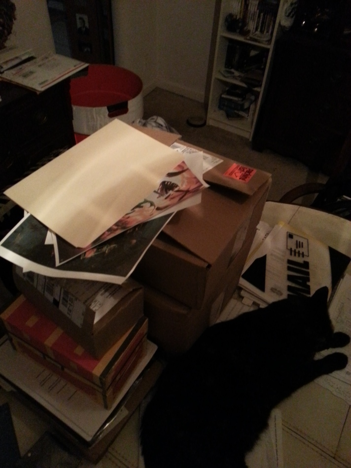 Olive is protecting several boxes that are coming with me—but the little fiend has exposed BSP artwork!