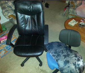 Guess which one is the new chair.