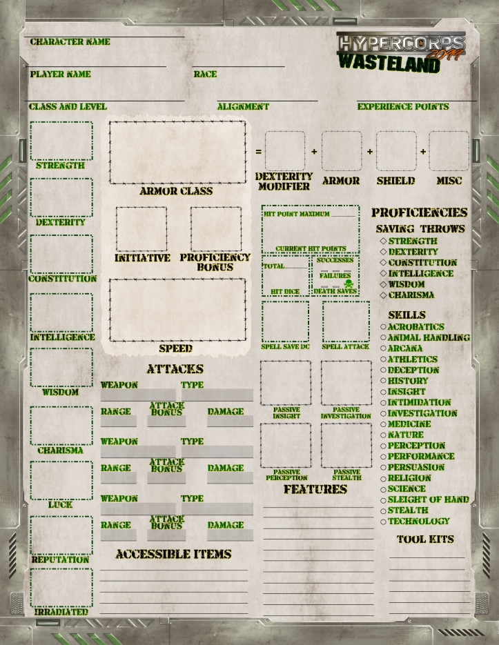 Wasteland Character Sheet FRONT draft 1.9