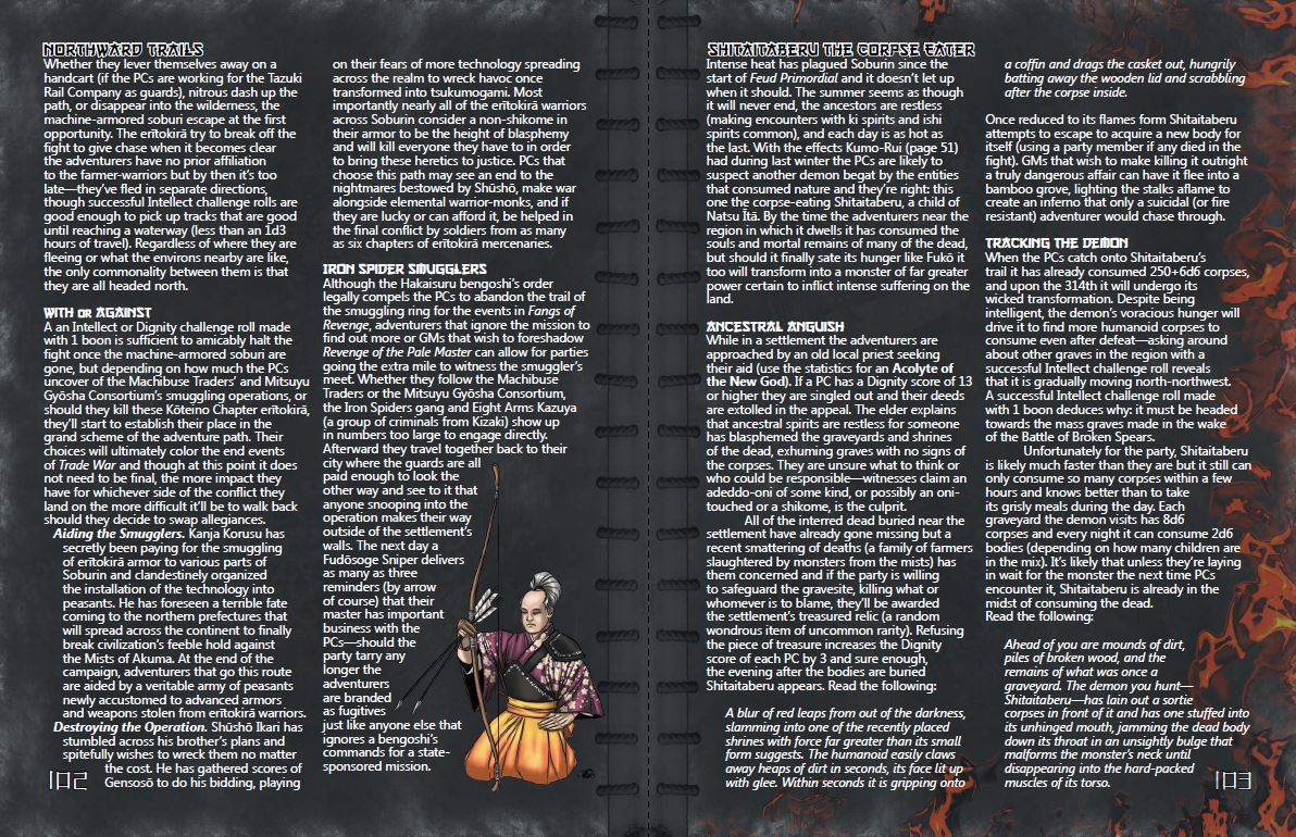 Trade War sample pages (Northward Trails, Shitaitaberu the Corpse Eater)