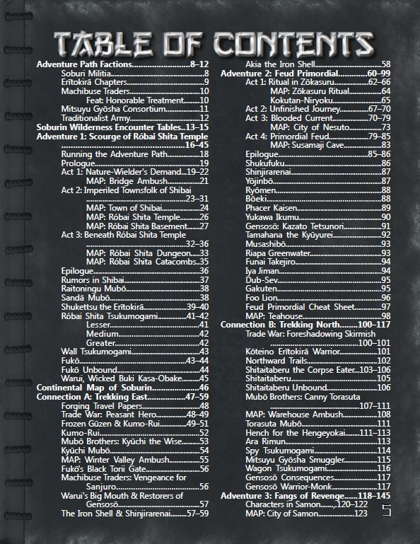 Trade War Table of Contents (page 1)