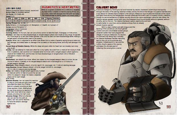 A second two-page spread preview of the adventure, this one featuring its villains.