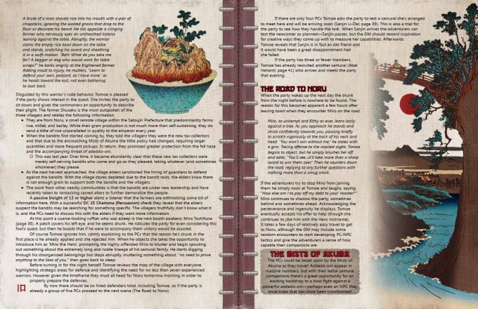 A two-page spread preview of the contents of this adventure.