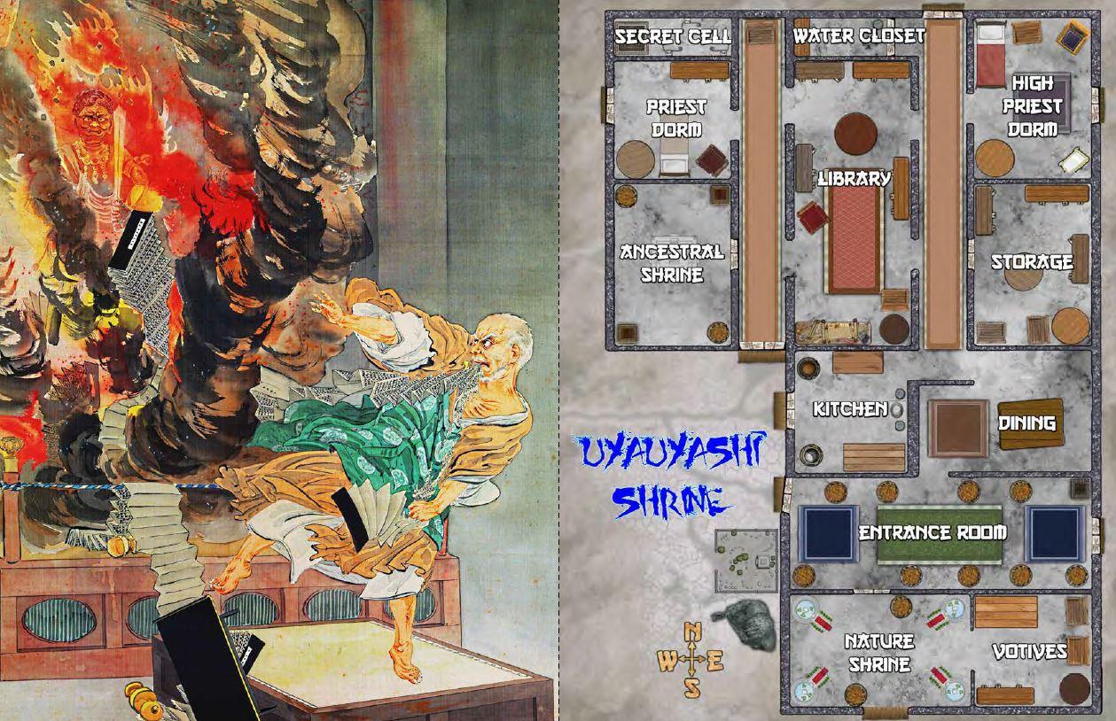 Intense full page ukiyo-e illustration and shrine map.