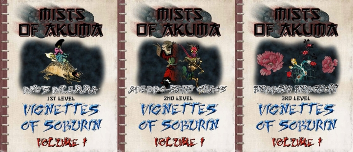 Vignettes of Soburin Volume covers 01-03