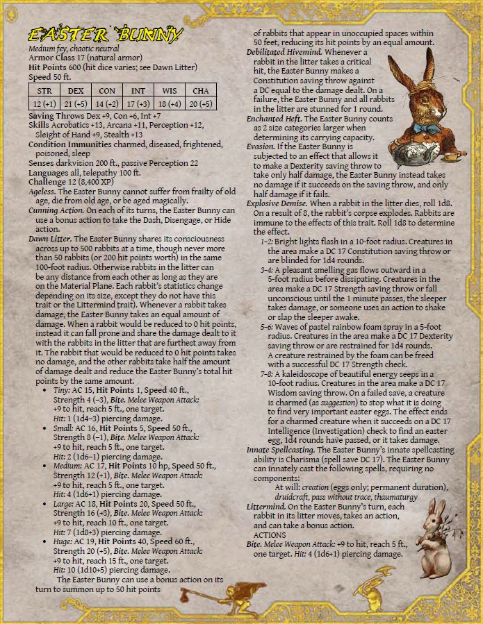 Easter Bunny DnD 5e - Monster Page