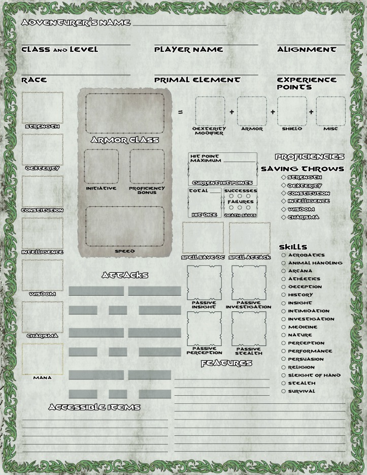 VK Character sheet PAGE ONE
